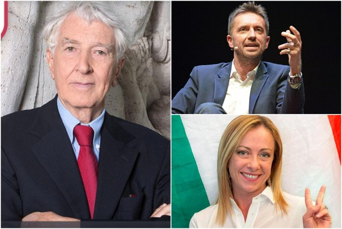 Corrado Augias, Andrea Scanzi e Giorgia Meloni